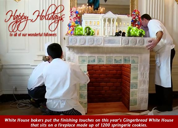 Bakers putting together Gingerbread White House Display